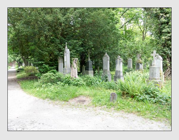 Gräber der Sektion 37 auf dem Alten Südfriedhof München: Westseite (Mai 2020)