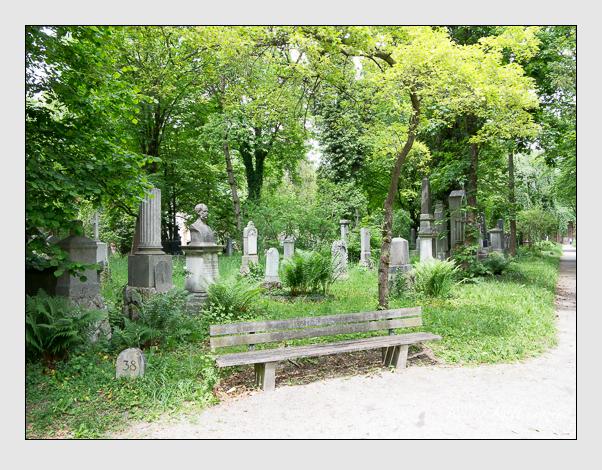 Gräber der Sektion 38 auf dem Alten Südfriedhof München: Ostseite (Mai 2020)