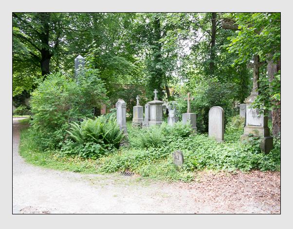Gräber der Sektion 42 auf dem Alten Südfriedhof München: Ostseite (Mai 2020)