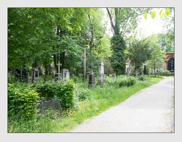 Gräber der Sektion 42 auf dem Alten Südfriedhof München: Westseite (Mai 2020)
